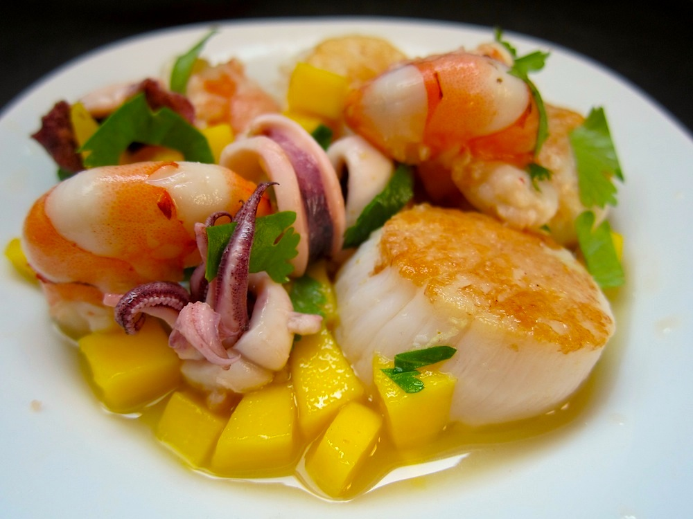 Ceviche Mixto (Shrimp, Squid, Scallops, & Mango) | Pisco Trail
