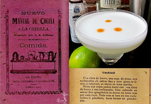 Pisco Sour cocktail recipe in 1903 Peruvian cookbook