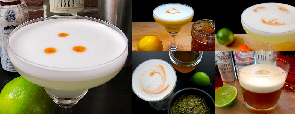 5 Pisco Sours: Classic, Orange Marmalade, Habanero, Yerba Mate, Mardi Gras