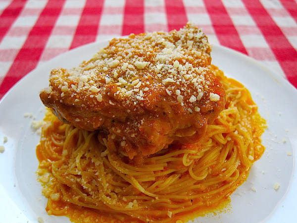 Tallarin con Pollo, Peruvian Style Spaghetti with Chicken