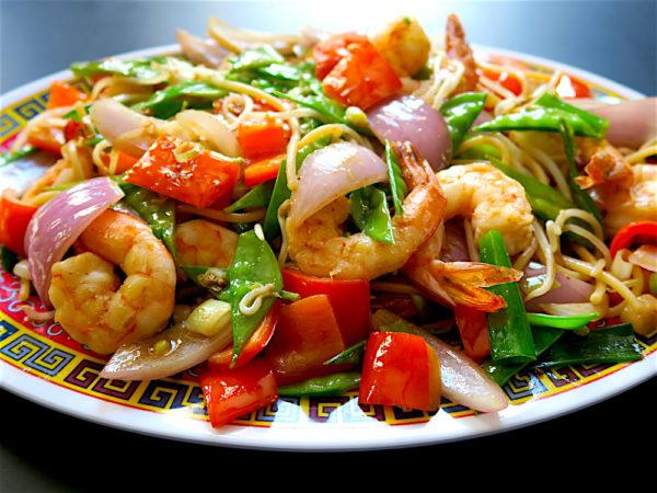 Tallarin Saltado Chifa, Shrimp Stir Fry